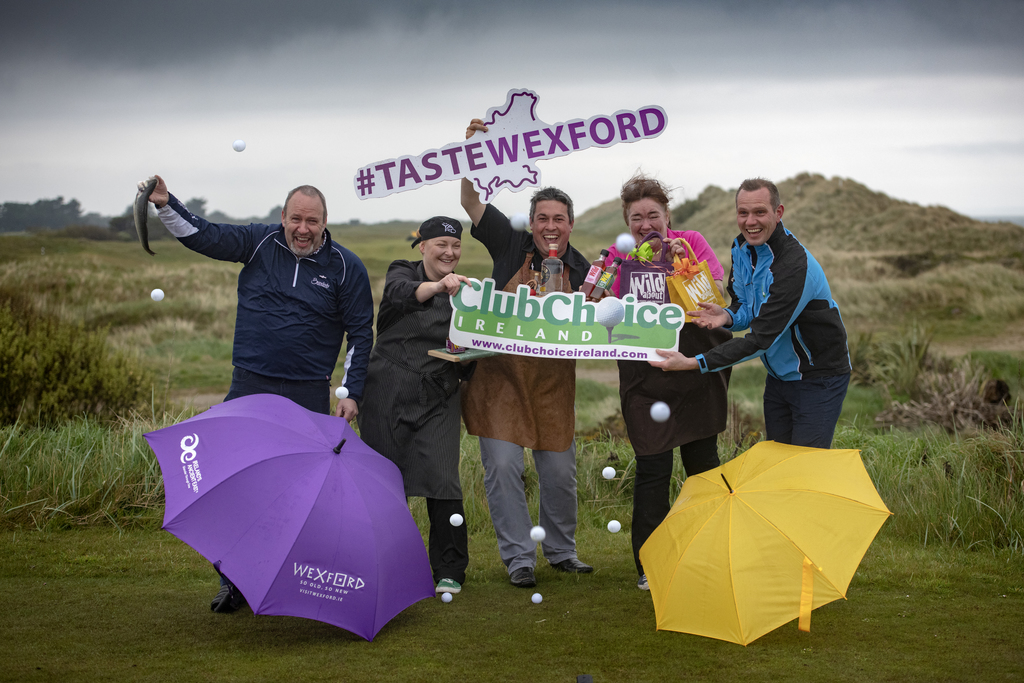 Taste Wexford Golf Experience 9-12th September 2019 - (L-R)  Billy Byrne (Wexford Tourism Development Officer), Mary Long (Head Chef at The Yard), Christy O' Reilly (Jackford Gin), Fiona Falconer (Wild About), Tiernan Byrne (Club Choice Ireland)