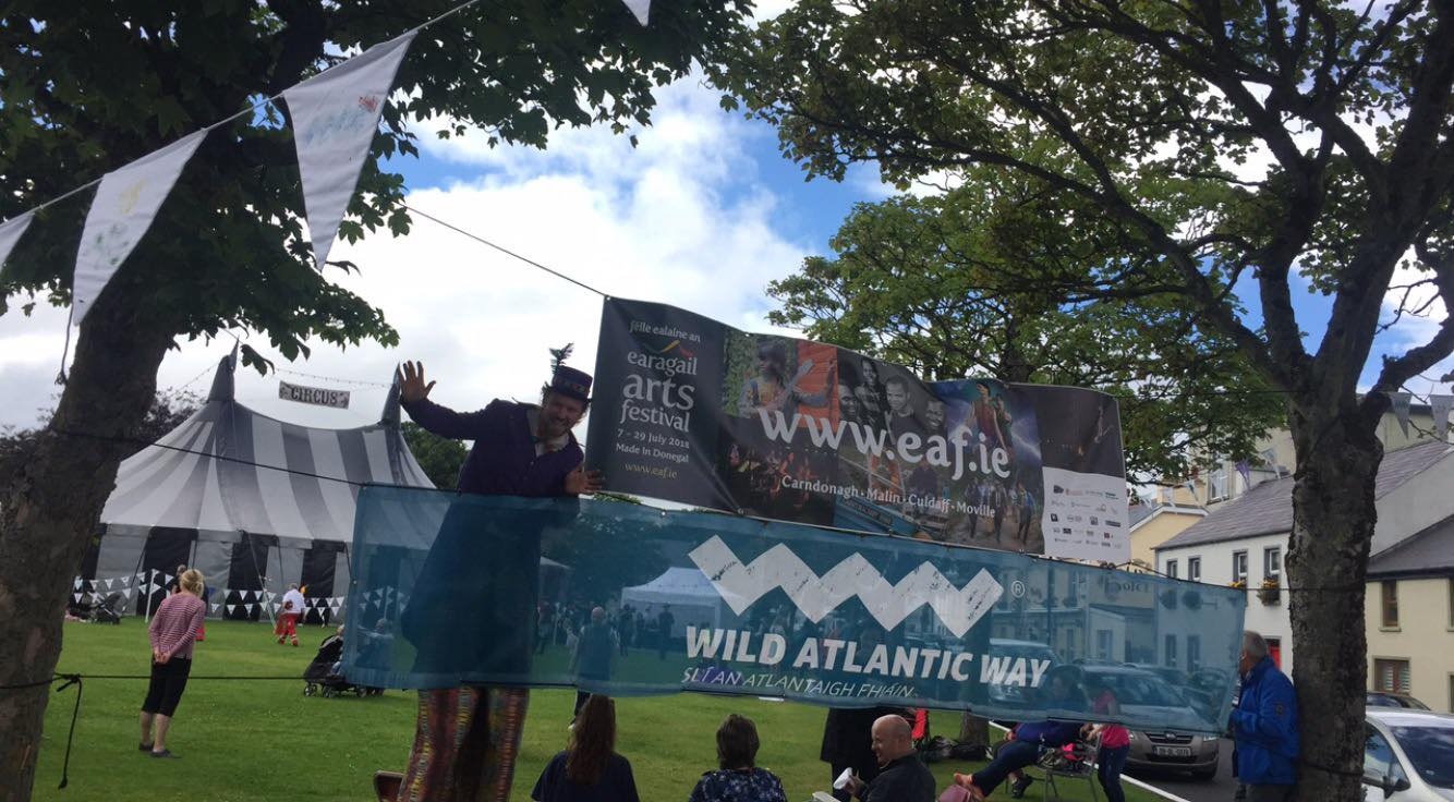 Enjoy the carnival atmosphere and circus performances in the Big Top on Malin's Village Green on the Inishowen Peninsula for the Wild Atlantic Weekend (27th & 28th July) during this year's Earagail Arts Festival (10th to 28th July 2019)