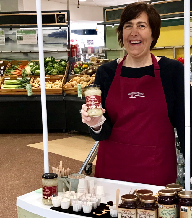 Helen from Mooncoin Beetroot during one of our instore sampling days