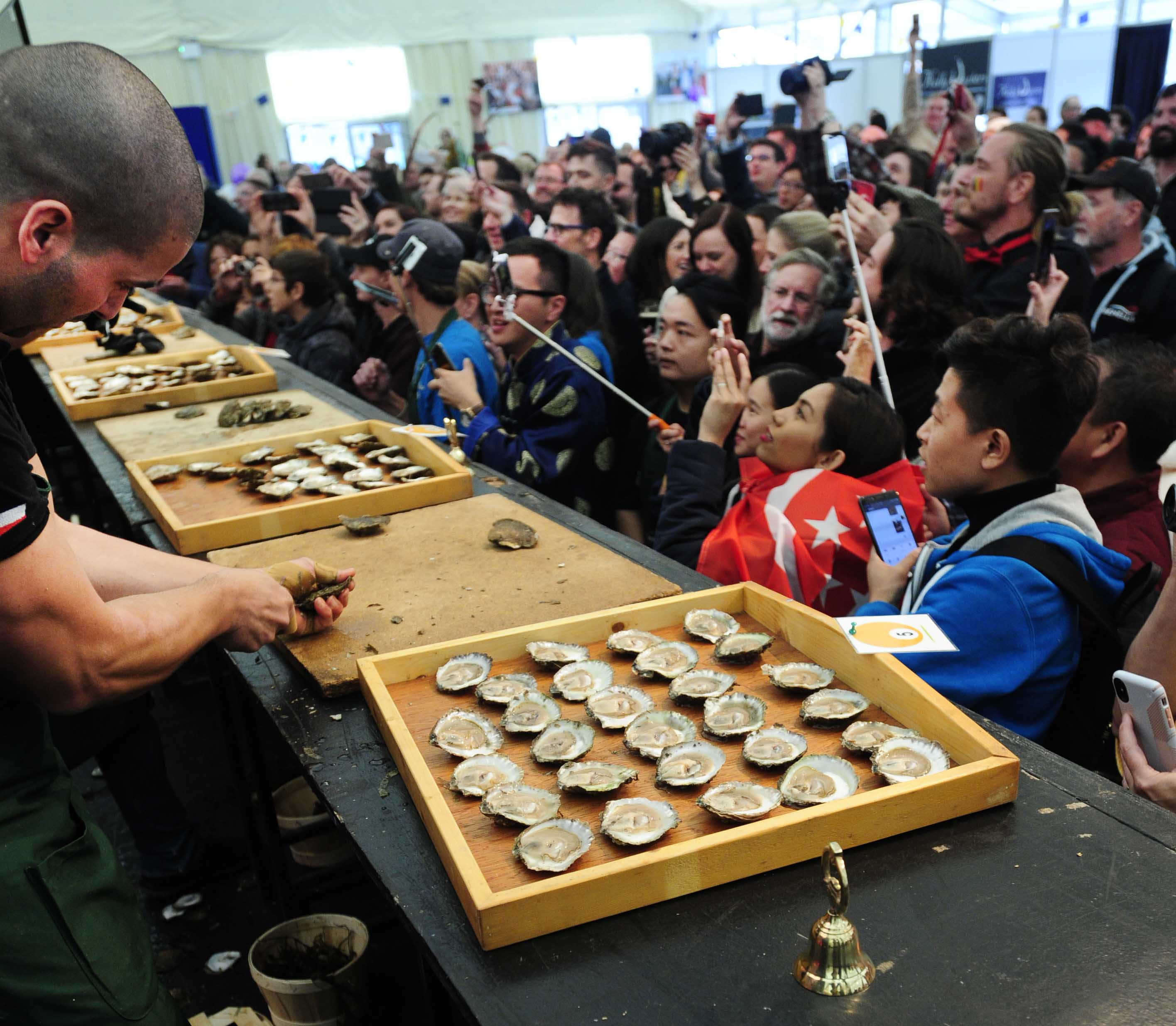 The World Oyster Championship underway in the Festival Marquee