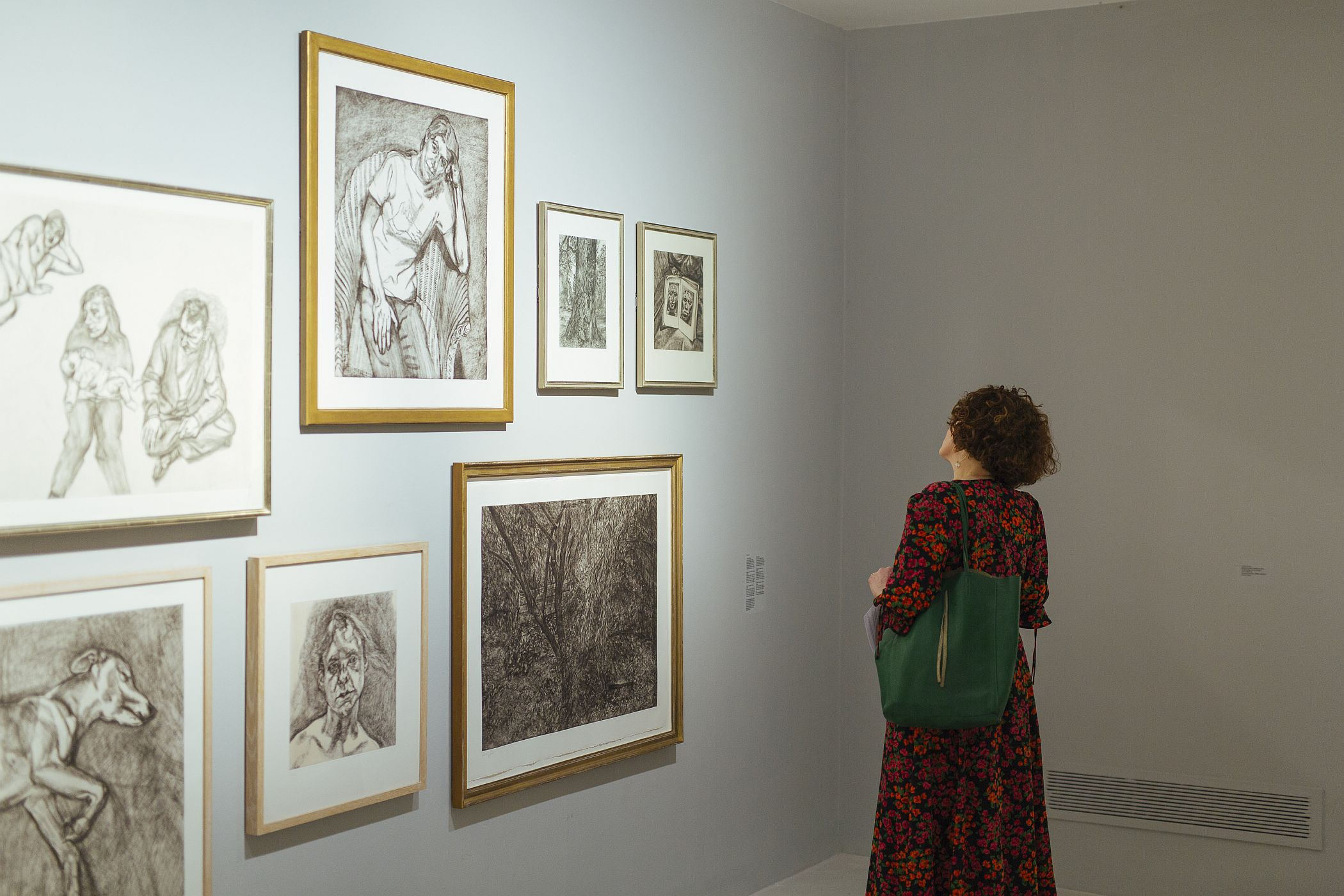 Visitor viewing drawings from the exhibition Life above Everything: Lucian Freud and Jack B. Yeats, IMMA, Dublin. Photo Kyle Tunney