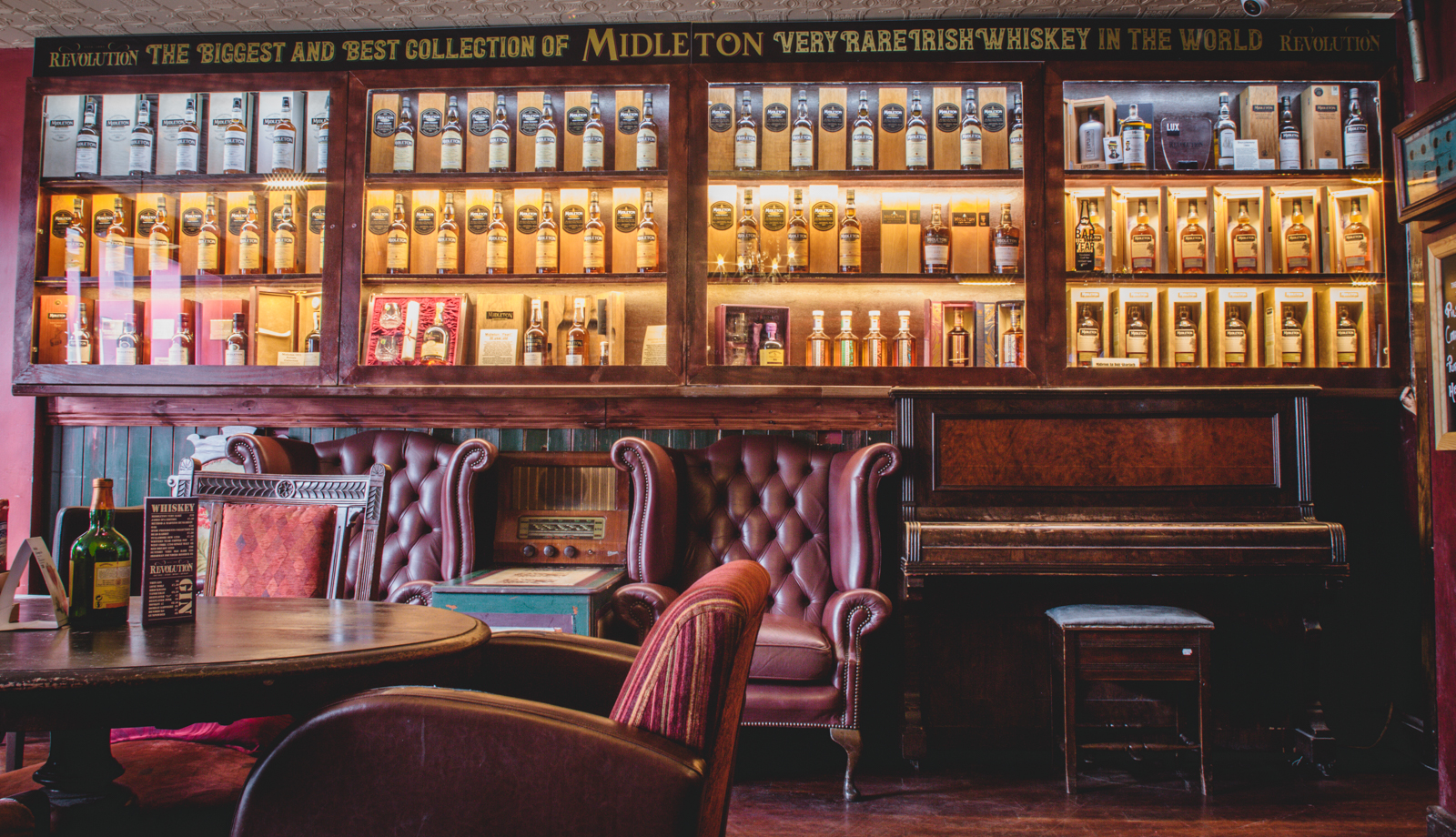 The Midleton Whiskey Cabinet at Revolution Craft Bar, Waterford - The Best Collection of Midleton Very Rare Whiskey in the World on Display and for sale