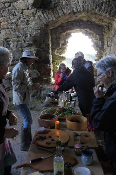 gathering for the feast in 1000 year old castle