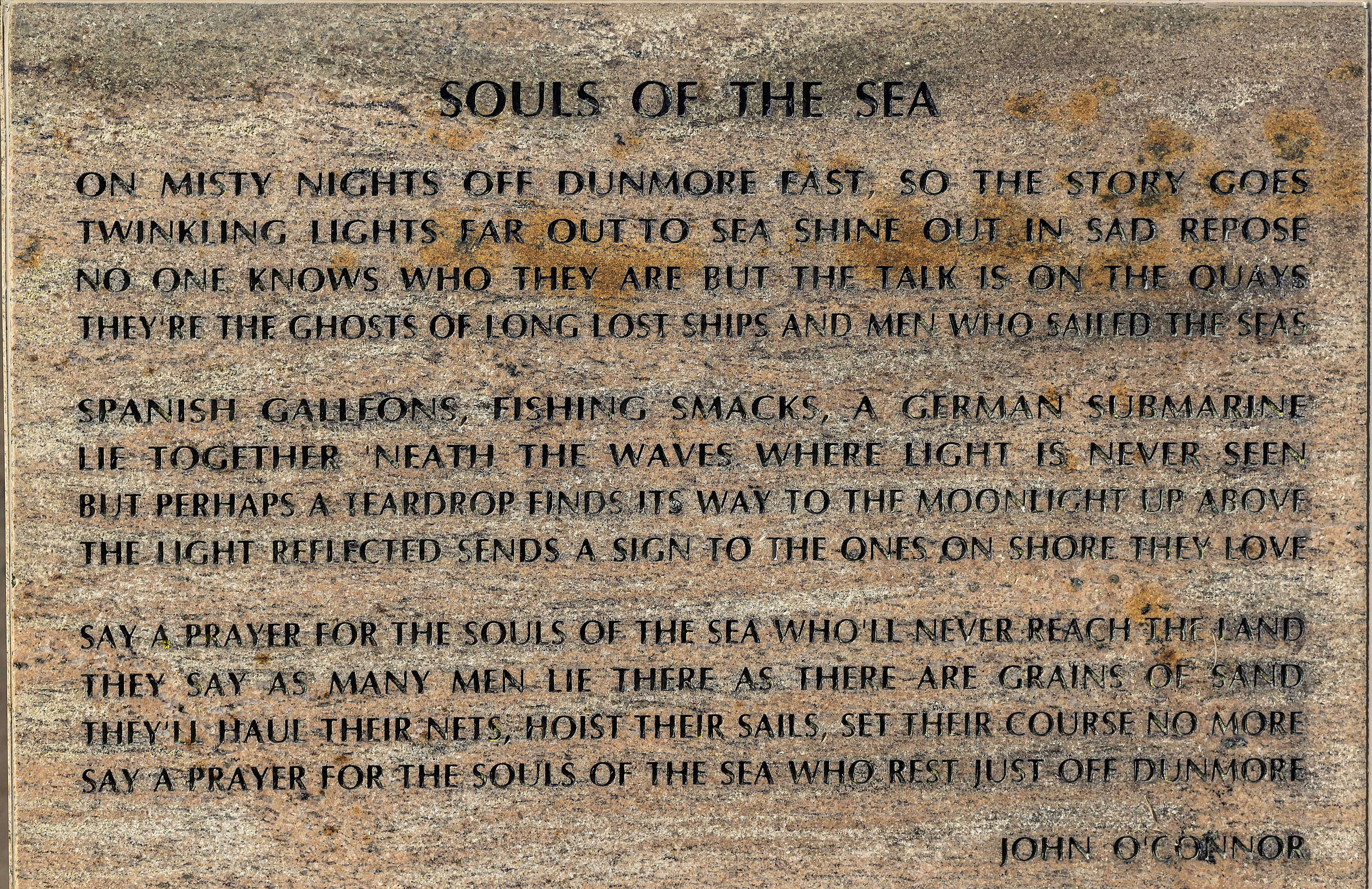 Part of the memorial in the Harbour at Dunmore East to those lost at sea